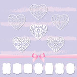 A set of hearts and a collection of frames of different shapes by cutting out paper. stock illustration