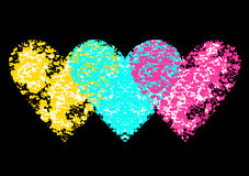 Set of hearts with colorful music notes and hearts on a black background. Bright creative  illustration suitable as a print on a t-shirt Stock Photo