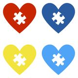Autism Awareness Hearts. Set of 4 hearts in colors representing autism awareness isolated on white background stock illustration