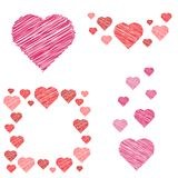 Set of  hearts compositions in sketch style Royalty Free Stock Photo