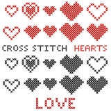 Set of hearts. Cross-stitch. Red and black silhouette. Stock Photography