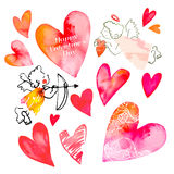 Set of hearts and cupids. Valentine Day Royalty Free Stock Image