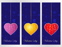 Set hearts on a dark blue patten background Royalty Free Stock Photo