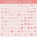 Set Hearts Design Elements Valentine Hand Drawn Royalty Free Stock Photos