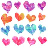 Set of hearts, different shapes and colors, watercolor vector illustration