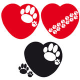 Set of hearts with dog paws on white background. Vector illustration Royalty Free Stock Photography