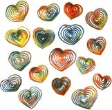 Set of hearts drawing by colored pencils Stock Photos