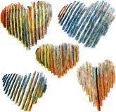 Set of hearts drawing by colored pencils Royalty Free Stock Photos