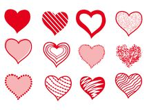 Set of hearts drawing.Vector hearts doodle art. Set of 12 vector heart shapes isolated on white background.Heart vector stock image Royalty Free Stock Photography