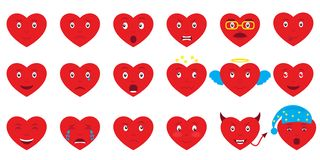 Set of 18 hearts emoji. Design elements for Valentines Day stock illustration