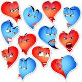 Set of hearts with emotions Stock Photography