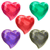 Set of hearts with faceted low-poly geometry effect vector illustration