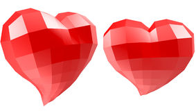 Set of hearts with faceted low-poly geometry effect Stock Photography