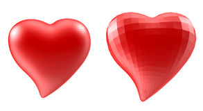 Set of hearts with faceted low-poly geometry effect Royalty Free Stock Photos