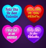 Set of hearts - Feliz San Valentin - Happy valentines day in spanish language Stock Photo