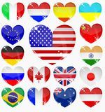 Set from the hearts of flags Stock Photo