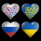 Set from the hearts of flags of ukraine russia Stock Image