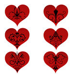 Set hearts with floral ornament inside. Six hearts with various floral ornament inside. Vector illustration for your design for Valentine's day Stock Images