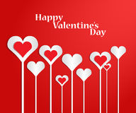 Set of hearts in the form of florets. St. Valentine's Day. Hearts on a red background in the form of florets. Vector illustration. Set Vector Illustration