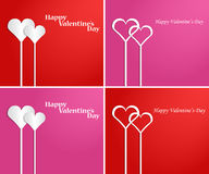 Set of hearts in the form of florets. St. Valentine's Day. Hearts on a red background in the form of florets. Vector illustration. Set Stock Illustration
