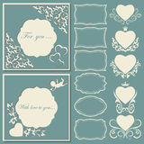 Set hearts and frames of different shapes. Decorative frame cut paper. Vector illustration Stock Images