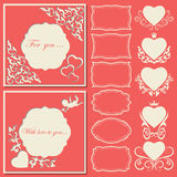 Set hearts and frames of different shapes. Decorative frame cut paper. Royalty Free Stock Photography