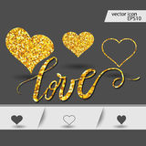 Set Of Hearts. Gold hearts. Design elements for Valentine`s day royalty free illustration