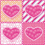 Set of hearts on the graphic background. Royalty Free Stock Image