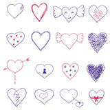 Set of hearts. Set of 16 hand drawn hearts stock illustration