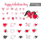 Set Of Hearts. Hand drawn hearts. Design elements for Valentine`s day Stock Image