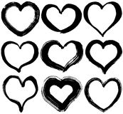 Set of hearts. hand drawn illustration. Set of heart illustrations. brush stroke Stock Photos