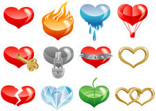 Set of hearts icons. Set of hearts icon by day of ST. Valentine vector illustration