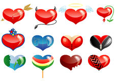 Set of hearts icons. Set of hearts icon by day of ST. Valentine stock illustration