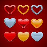 Set of hearts icons. 9 Beautiful shiny hearts with gold silver and red colour surfaces vector illustration