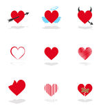 Set 9 hearts icons Royalty Free Stock Images
