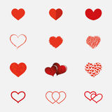 Set of hearts icons in different styles Stock Photos