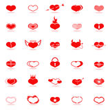 Set of hearts icons. Set of red hearts icons. Vector illustration Royalty Free Stock Images
