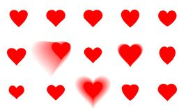 Set of Hearts icons. Romantic collection love sign and symbol. Vector illustration EPS 10 royalty free illustration