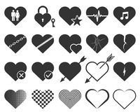 Set of hearts icons. Vector illustration. Stock Photos