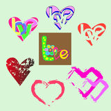 Set from hearts. Illustration of collection of beautiful hearts on a green background Stock Photos