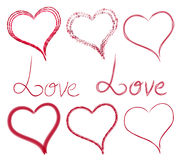 Set hearts and inscriptions of different style and type. Stock Photography