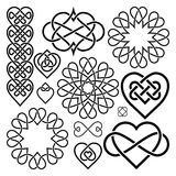 Set Hearts Intertwined in Celtic Knot Royalty Free Stock Photography