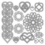 Set Hearts Intertwined in Celtic Knot Stock Image