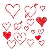 Set of hearts isolated on white background,  Stock Image