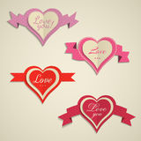 Set of hearts labels for Valentine's Day Royalty Free Stock Photo