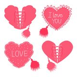 Set Hearts with lacing and corset with fur brush. Pink color. Vector illustration isolated on white background. Set Hearts with lacing and corset with fur brush Royalty Free Stock Photo