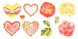 A set of hearts for love design. Watercolor hearts for St Valentine`s day card or wedding anniversary decoration