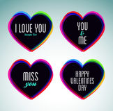 Set of hearts and love messages Royalty Free Stock Photo