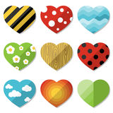 Set of hearts with natural patterns Stock Photo