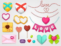 Set of hearts, objects, decorations. Can be used. For design Valentines Day cards and wedding design Royalty Free Stock Photo